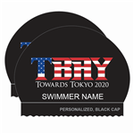 2x TBAY Olympic Towards Tokyo Personalized Silicone Black Caps