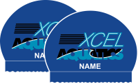 2x XCEL Aquatics Personalized Royal Blue Silicone Caps
