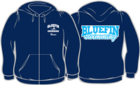Carrollton Bluefins Navy Zip Up Hoodie w/ Logos