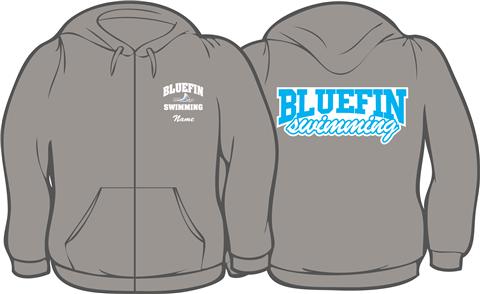 Carrollton Bluefins Sport Gray Zip Up Hoodie w/ Logo