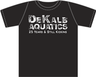 "Extra DeKalb Aquatics ""25 Years"" Black Tees w/ Logo"