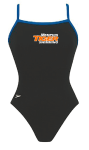 Memphis Tiger: Thin Strap Suit w/Logo (Black w/Blue Straps)