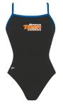 Memphis Tiger: Thin Strap Suit w/Logo (Black w/Blue Straps)