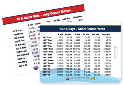 USA Swimming Time Standard Bag Tag Cards