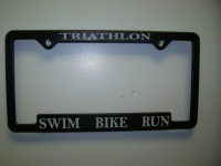 Triathlon word license plate frame