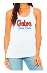 Gator Swim Club Ladies Flowy Racerback White Tank