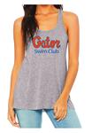 Gator Swim Club Ladies Grey Flowy Racerback Tank