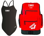 TBAY Girls Thin Strap Suit w/Logo Bundle